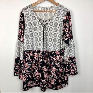 NY Collection Long Peasant Sleeve V-neck Blouse
